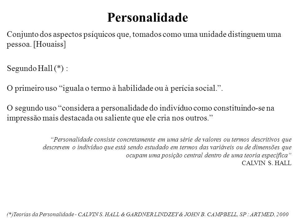 Personalidade Conjunto dos aspectos psíquicos que, tomados como uma unidade distinguem uma pessoa. [Houaiss]